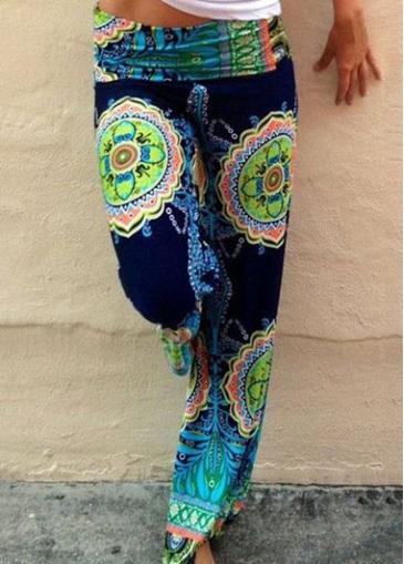 Low Waist Totem Printed Straight Pants
