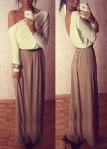 Long Sleeve V Back Two Tone Color Maxi Dress