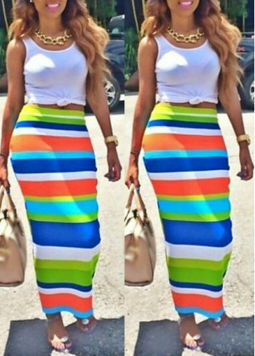 White Tank Top and Colorful Striped Sheath Skirt