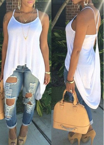 Solid White Open Back Asymmetric Camisole Top