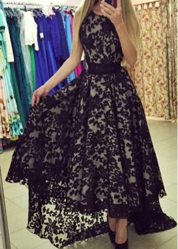 Belted Black Lace Asymmetric Hem Maxi Dress