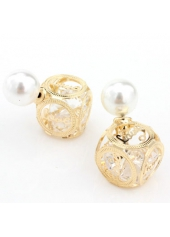 wholesale Hollow Out Cube Shape Golden Earrings