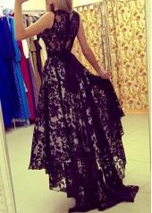 wholesale Belted Black Lace Asymmetric Hem Maxi Dress