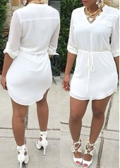 V Neck Solid White Drawstring Waist Dress