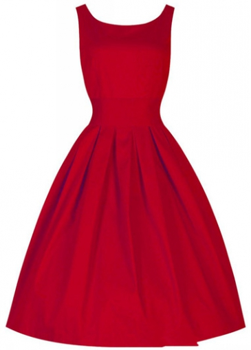 Round Neck Solid Red Tank Dress