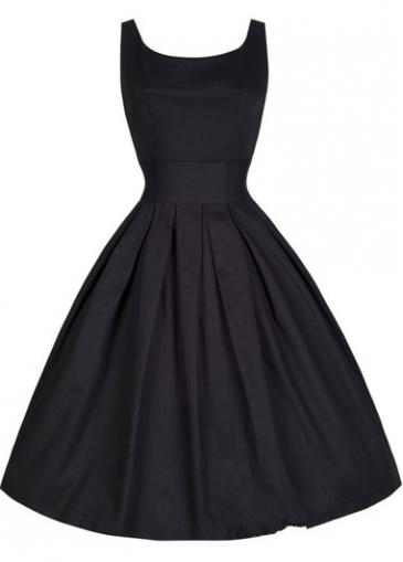 Round Neck Sleeveless Black Flare Dress
