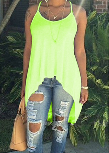 Fluorescent Green Scoop Neck High Low Camisole