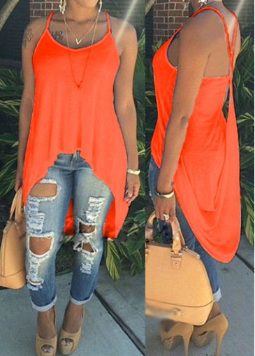 Criss Cross Back Neon Orange Camisole