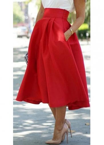 Zipper Closure Mid Calf Red Skirt