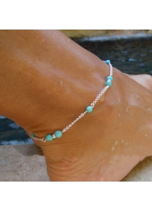 Stone Decorated Silver Metal Daily Casual Anklet