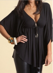 Batwing Sleeve V Neck Black Asymmetric Blouse