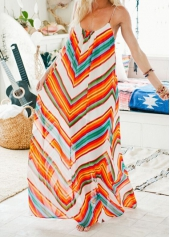 Backless Stripe Print Beach Maxi Dress