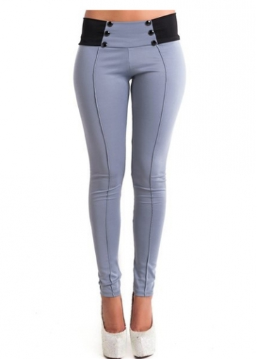 Band Waist Button Decorated Grey Pants