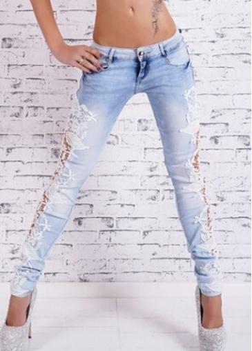 Lace Panel Zipper Fly Denim Pants