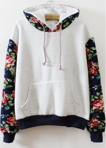 Flower Print Pocket Decorated Grey Sweats