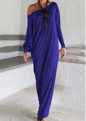 Skew Neck Long Sleeve Slit Maxi Dress