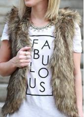 Brown Faux Fur Waistcoat for Women