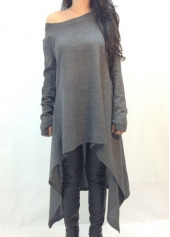 Dark Grey Long Sleeve Asymmetric Sweater