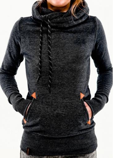 Black Pocket Design Hooded Collar Sweats