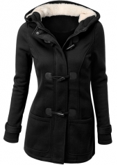 Black Hooded Collar Single Breasted Coat