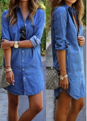 Pocket Design Button Closure Denim Blue Shirt