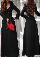 Black Long Sleeve Turndown Collar Coat