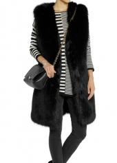 Pocket Design Faux Fur Black Vest