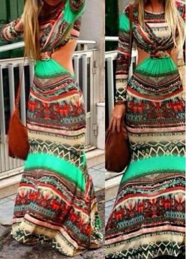 Cutout Design Long Sleeve Tribal Print Maxi Dress