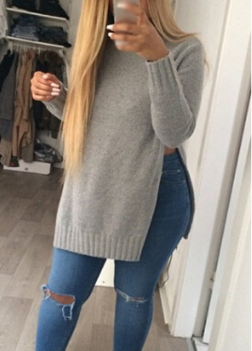 Side Slit Round Neck Grey Sweater