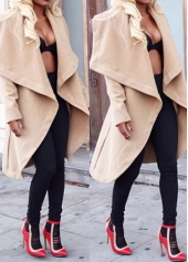 Solid Khaki Long Sleeve Long Coat