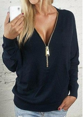 Black Long Sleeve Zipper Closure Sweats