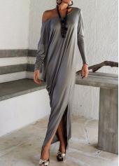 Long Sleeve Side Slit Dark Grey Maxi Dress