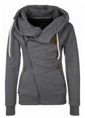 Dark Grey Long Sleeve Hooded Sweats