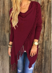 Long Sleeve Tassel Design Wine Red T Shirt