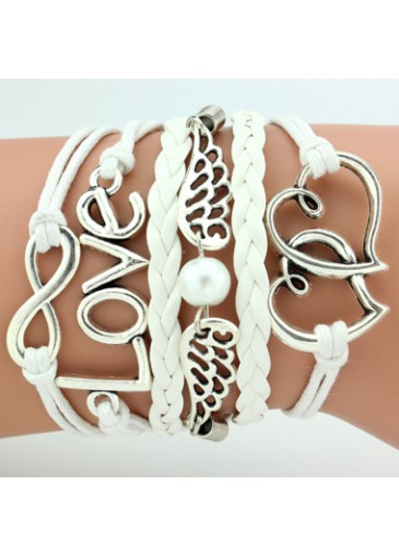 Metal Heart and Wing Decorated Layered White Bracelet