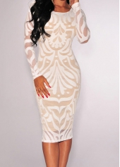 Long Sleeve White Backless Lace Dress