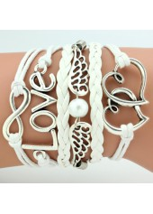 wholesale Metal Heart and Wing Decorated Layered White Bracelet