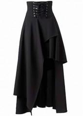 Lace Up Waist Black Asymmetric Hem Skirt