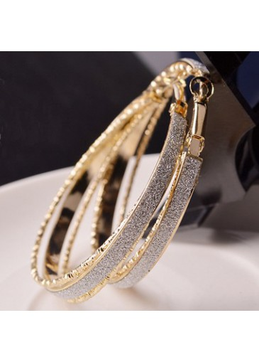 Gold Metal Circle Earrings for Woman