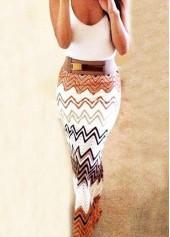Chevron Pattern High Waist Ankle Length Skirt