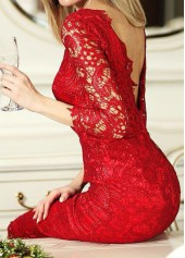 Three Quarter Sleeve V Back Red Lace Dress