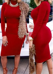 Solid Red Long Sleeve Mini Dress