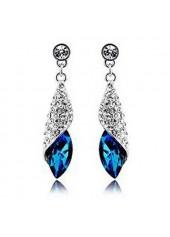 Silver Metal Blue Rhinestone Decorated Earrings