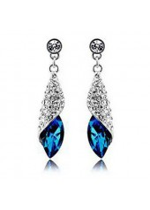 wholesale Silver Metal Blue Rhinestone Decorated Earrings