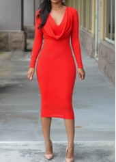 Cowl Neck Long Sleeve Red Sheath Dress