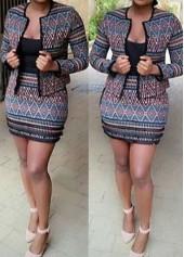 Long Sleeve Blazer and Tribal Print Skirt