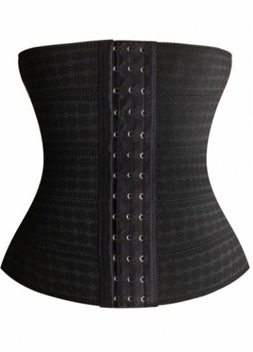 Strapless Solid Black Hidden Clasp Corset