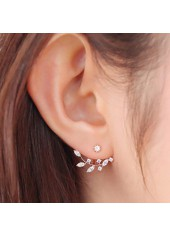 Leaves Shape Artificial Crystal Decorated Gold Earrings
