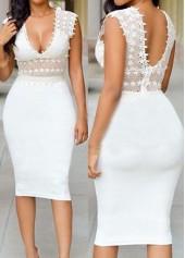 White Plunging Neck Knee Length Dress