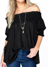 Solid Black Half Sleeve Loose Blouse